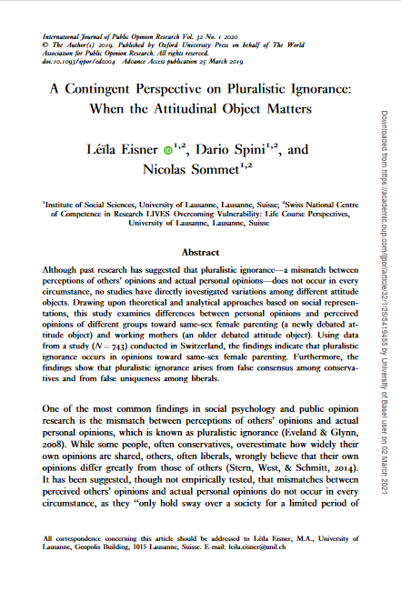 Screenshot of the first page of the paper on a contingent perspective on pluralistic ignorance: when the attitudinal object matters