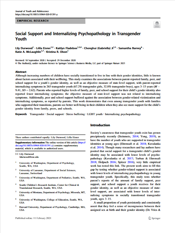 A screenshot of the first page of a scientific journal. The paper is about Social Support and Internalizing Psychopathology in Transgender Youth.