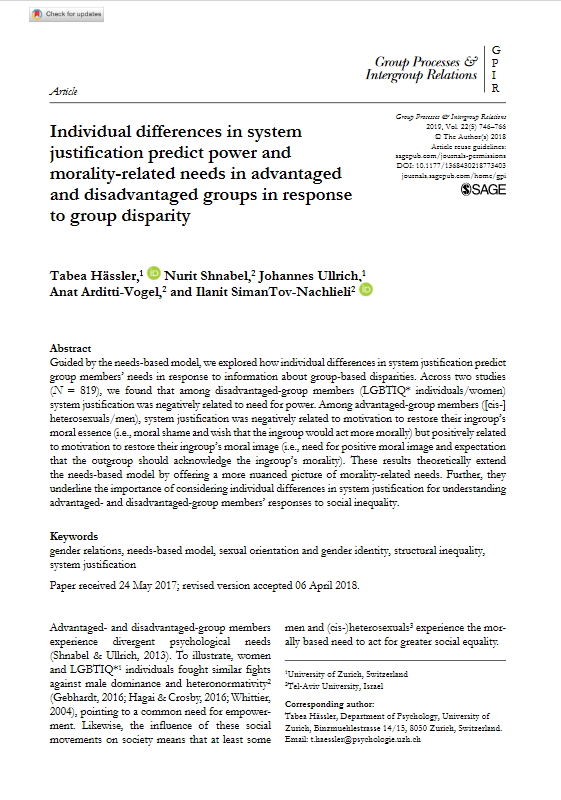 "Screenshot of the first page of the paper on ""Individual differences in system justification predict power and morality-related needs in advantaged and disavanteged groups in response to group disparity""."