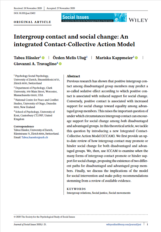 Screenshot of the first page of the intergroup contact and social change paper.