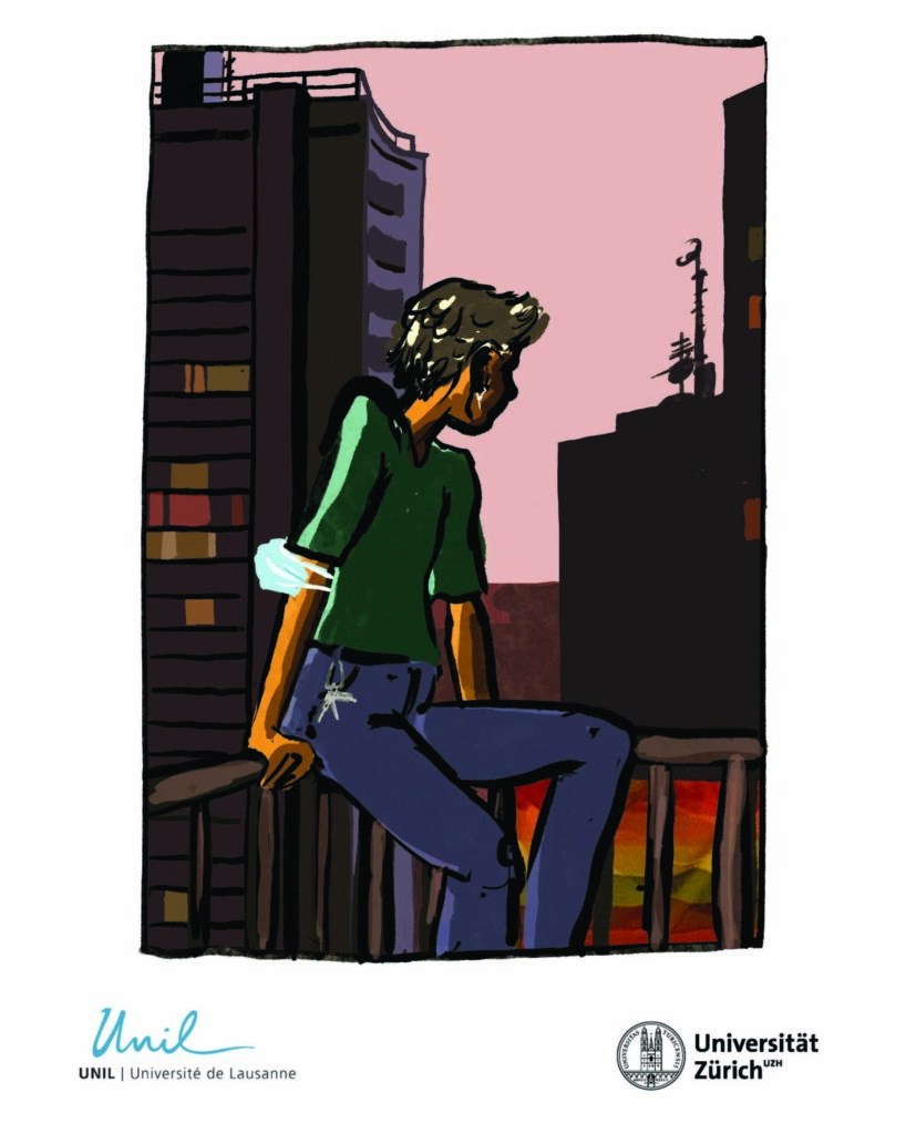 """The headline reads """"How does the current situation affect our experiences of stress?"""". Below that is a picture of a person sitting on a balcony railing looking at the nightly city. The person has a blue sanitary mask on their arm and a rainbow flag is attached to the balcony railing."""