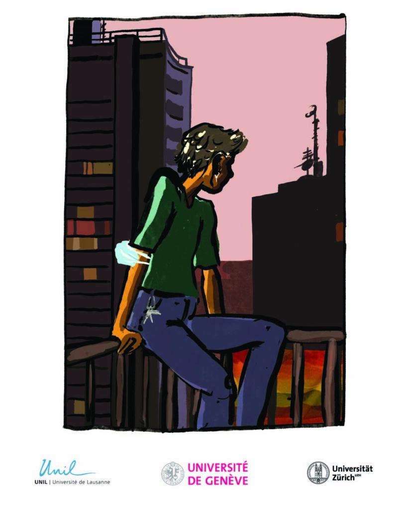 """Le titre est le suivant : """"Comment la situation actuelle affecte-t-elle votre niveau de stress? En dessous se trouve la photo d'une personne assise sur la balustrade d'un balcon et regardant la ville la nuit. La personne a un masque sanitaire bleu sur le bras et un drapeau arc-en-ciel est attaché à la balustrade du balcon."""